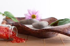 Bath salt, massage stones, bowl, Royalty Free Stock Image