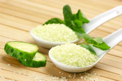 Bath salt with mint and cucumber Stock Image