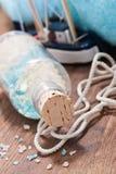 Bath salt mix and nautical decoration Stock Photography