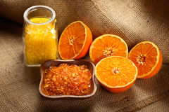 Bath salt and orange fruit Royalty Free Stock Images