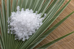 Bath salt and palm leaf Royalty Free Stock Images