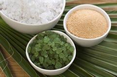 Bath salt and palm leaf Royalty Free Stock Photography