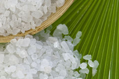 Bath salt and palm leaf Stock Photography