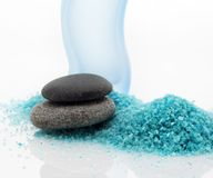 Bath salt and pebble stones Stock Photo