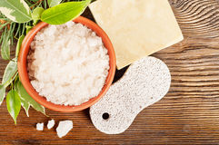 Bath salt and pumice stone Royalty Free Stock Photography