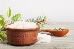 Bath salt and pumice stone Stock Images