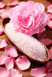 Bath salt with rose Stock Photo