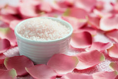 Bath salt with rose Royalty Free Stock Photography