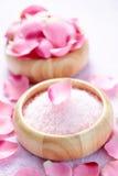 Bath salt with rose Royalty Free Stock Photo