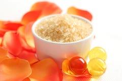 Bath salt with rose petal Stock Image