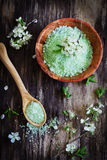 Bath salt. On a rustic wooden background.aromatherapy spa concept Stock Image