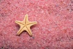 Bath salt and sea star. Sea star and buth sea salt Royalty Free Stock Photography