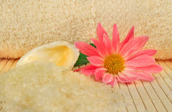 Bath salt, shell and a flower Stock Photo