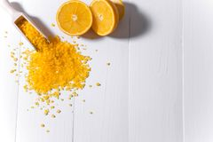 Bath salt with the smell of orange and oranges. Fragrant bath salts. The basis for the banner, flyers, advertisements stock photos