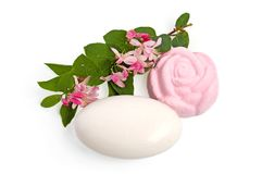 Bath salt, soap and flowering twig Stock Photography