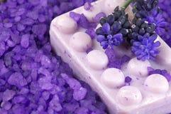 Bath salt and soap Stock Photo