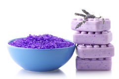 Bath salt, soap and lavander Stock Photos