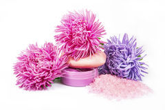 Bath salt, soap and shampoo in pink and violet color Royalty Free Stock Photo