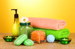 Bath salt, soap and towel Stock Images