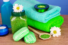 Bath salt, soap and towel Royalty Free Stock Photo
