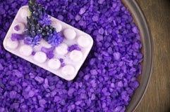 Bath salt and soap Stock Photos