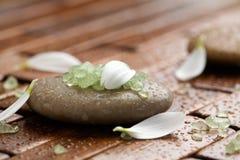 Bath salt on spa stones. Green bath salt on brown spa stones Stock Image