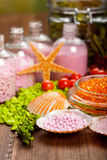 Bath salt - spa supplies Stock Images