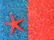 Bath salt and starfish Royalty Free Stock Images