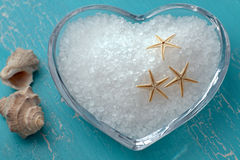 Bath salt and starfishes Royalty Free Stock Photography