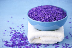 Bath salt and towel Royalty Free Stock Photography