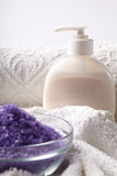 Bath salt with towel Stock Photography