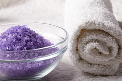 Bath salt with towel Stock Images