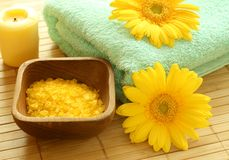 Bath salt, towel, candle and gerber. Royalty Free Stock Image