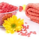 Bath salt, towel and flower Stock Images