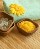 Bath salt, towel, and gerber. Royalty Free Stock Photo