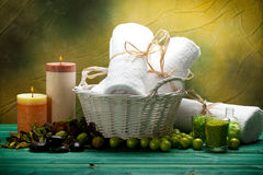 Bath salt, towels and candles Royalty Free Stock Images