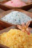 Bath salt in wooden bowls Royalty Free Stock Photo