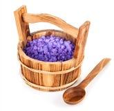 Bath salt in wooden bucket Royalty Free Stock Image
