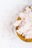 Bath salt on a wooden spoon Stock Images