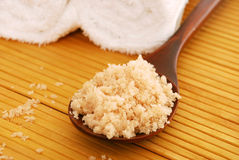 Bath salt on a wooden spoon Stock Photos