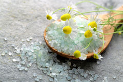 Bath salt on wooden spoon Stock Photography