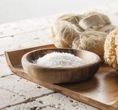 Bath salt on wooden tray for spa treatment Stock Photo