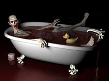 Bath Salt Zombie. An undead zombie taking a bath salt bath complete with rubber ducky with brains showing Royalty Free Stock Images