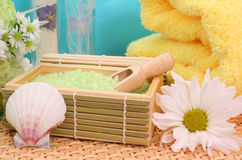 Bath Salts. With Flowers, Sea Shell and Towel Royalty Free Stock Photo