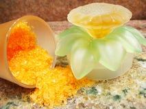 Orange bath salts royalty free stock photos