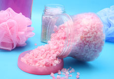 Bath Salts. On Blue Background Royalty Free Stock Image