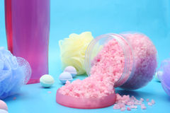Bath Salts. Bath Products on Blue Background Royalty Free Stock Photo