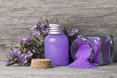 Bath Salts And Gel In Purple. Royalty Free Stock Images
