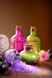 Bath salts and body oil vertical composition Stock Photography