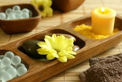 Free Bath Salts, Candle, Stones, Flower And Towel. Royalty Free Stock Photography - 10088527